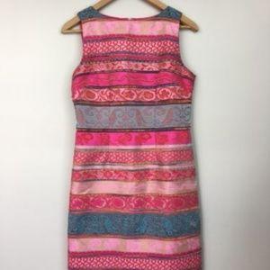 Chetta B jacquard sheath dress multicolor print